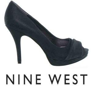 Nine West Glittered Suede Peep Toe Pumps